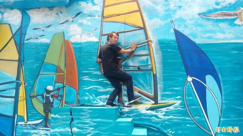 汕尾漁港彩繪成為拍照打卡熱點。(記者洪臣宏攝)