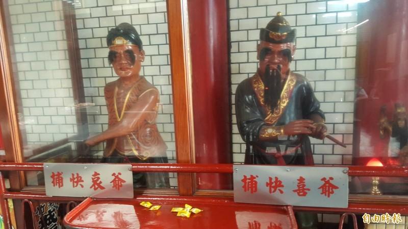 殺害流鶯的莊男於死者頭七日在城隍廟旁被逮,圖為新竹都城隍廟內的捕快。(記者蔡彰盛攝)