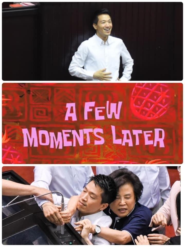 基進黨發言人陳柏惟臉書放上何志偉被沈智慧環抱的照片。(取自基進黨發言人陳柏惟臉書)