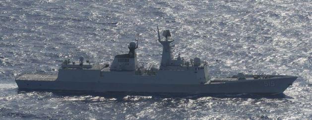 共軍一艘「江凱」II級護衛艦(054A型導彈護衛艦)也現身漢光演習外圍海域。(圖擷取自日本防衛省網站)