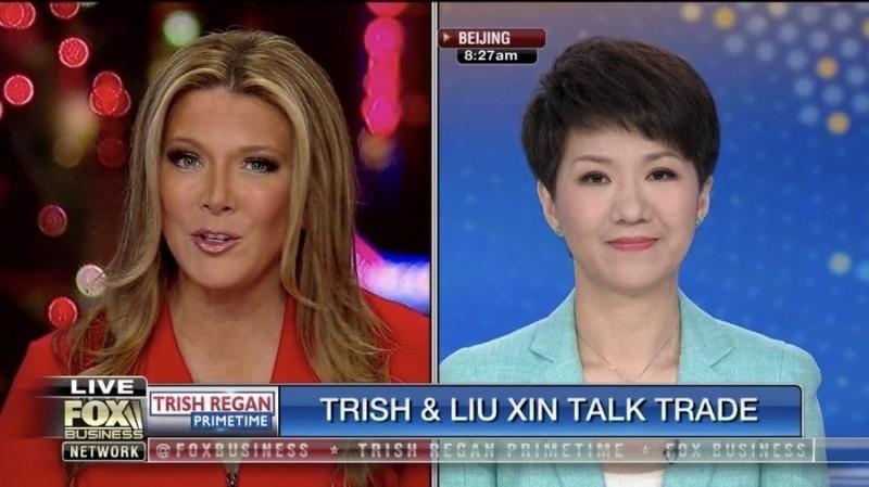 美國《福斯財經新聞網》主播黎根與中國官媒央視旗下英語頻道《中國環球電視網》主播劉欣,2人5月30日針對貿易戰隔空「辯論」。(圖擷取自推特)