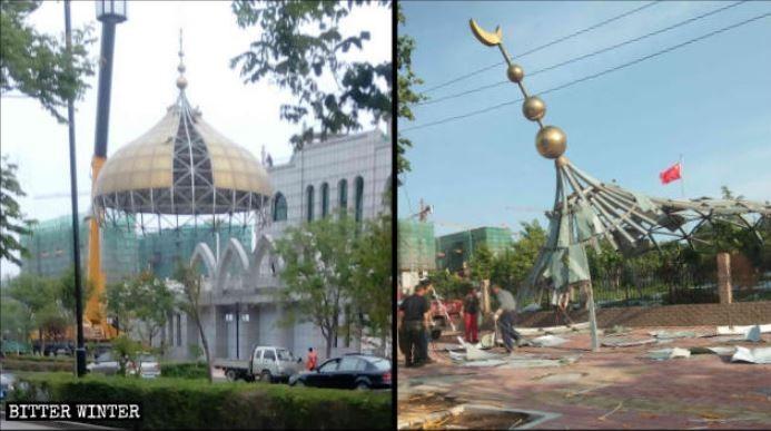 當局將伊斯蘭經典的穹頂與新月標誌全數拆除。(擷取自《寒冬》雜誌)