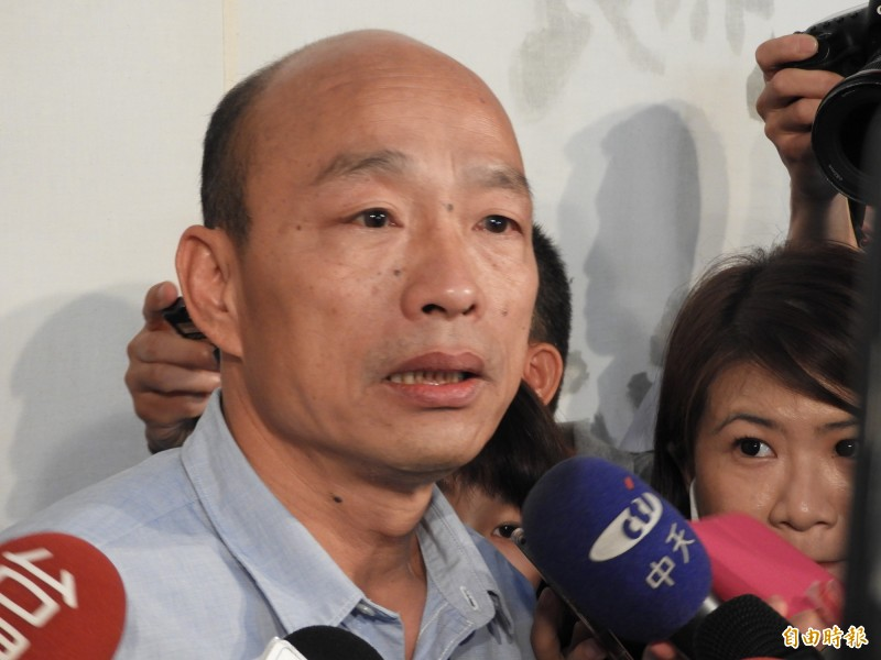 「發財外交」遭批喊口號,韓國瑜卻稱執政者要苦民所苦。(記者葛祐豪攝)