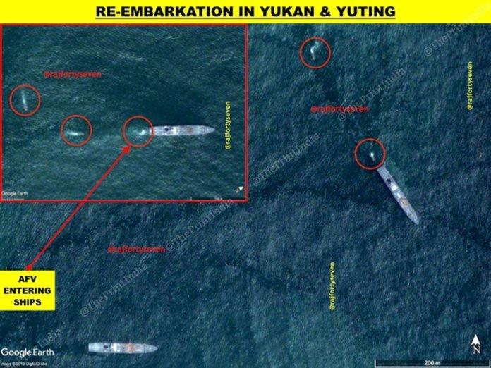 巴哈特補充,中國登陸演習時會讓軍隊們與裝備重新登船,此舉是為了加強部隊協調性,找到最佳攻擊組合。(圖擷取自theprint.in)
