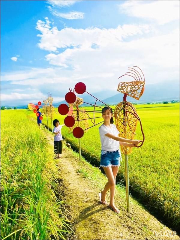 設在關山鎮電光里稻田中央的「陪伴」作品十分吸睛。(記者王秀亭攝)