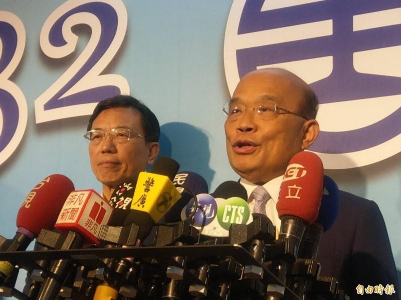 蘇貞昌今出席鐵路節慶祝大會時,針對高雄登革熱等議題進行說明。(記者鄭瑋奇攝)