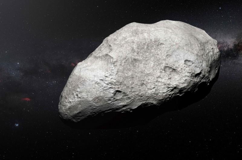 今(5)天一顆直徑為16至36公尺的「2019 KA4」小行星,和地球相距322萬公里處掠過。該圖為示意圖,原是歐洲南方天文台(ESO)2018年5月發布,以展示藝術家對2004年流亡小行星EW95的印象。(資料照,法新社)