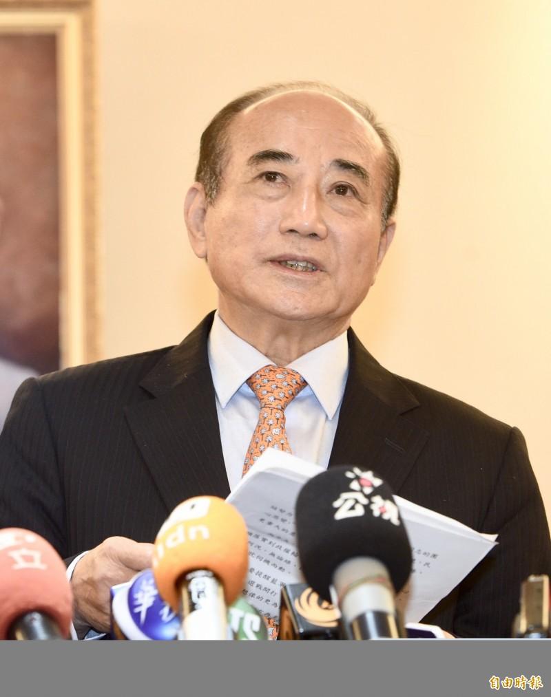 前立法院長王金平6日與國民黨五人小組會面,會後宣布不參加黨內初選。(記者羅沛德攝)