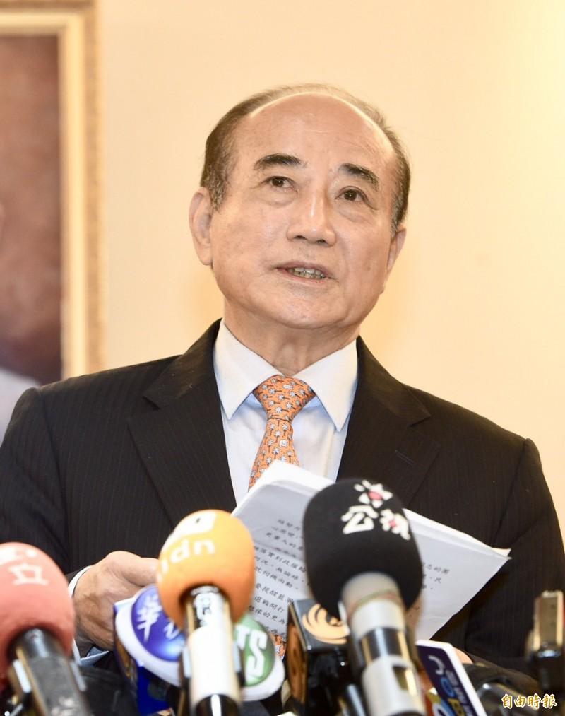 前立法院長王金平今天上午與提名協調5人小組會面後宣布,決定不參與國民黨初選。(記者廖振輝攝)
