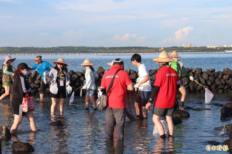 澎湖首屆石滬捕魚大賽,在擁有500餘年歷史的五德石滬舉行。(記者劉禹慶攝)