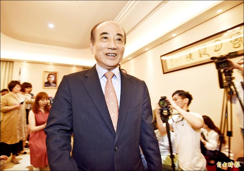 前立法院長王金平昨與國民黨五人小組會面,會後宣布不參加黨內初選。(記者羅沛德攝)