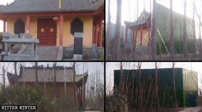 中國寺廟遭政府「裝箱」的過程照。(擷取自《寒冬》雜誌)