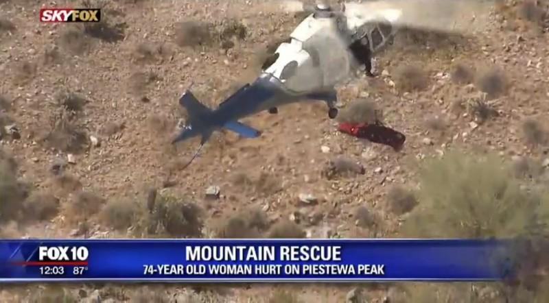 74歲老婦在救援擔架上瘋狂旋轉40秒,救援人員說這種情況6年來發生過2次。(圖擷取自FOX 10)