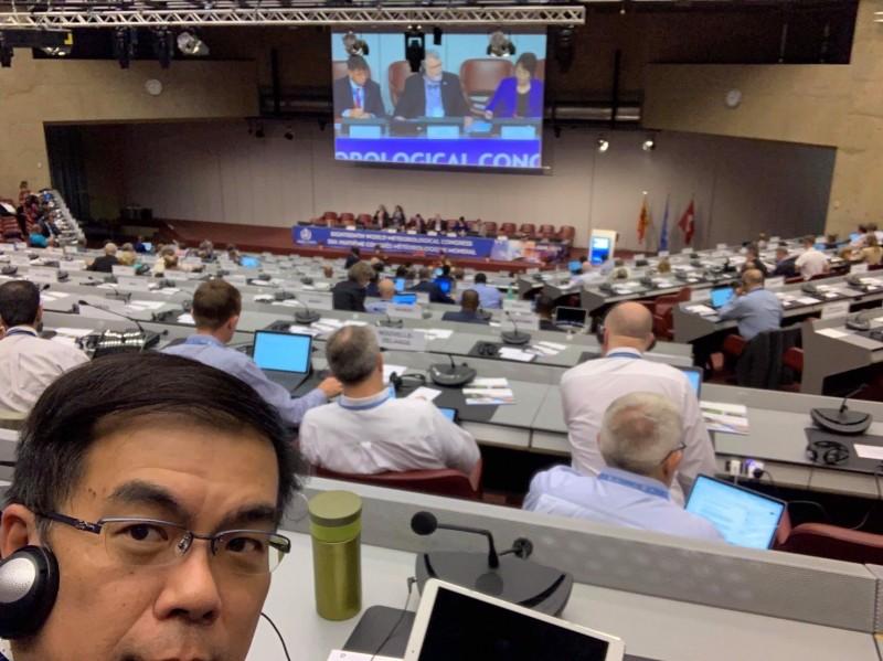 彭啟明以民間組織人士參與今年聯合國世界氣象組織(WMO)大會。(彭啟明提供)