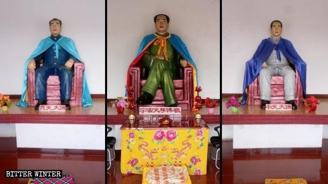 進入大院可見一座大型露天毛澤東雕像,雕像底座刻有將毛澤東神化的詩句。(擷取自《寒冬》雜誌)