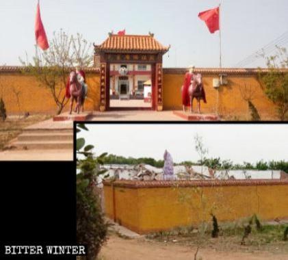 消息曝光後,當局動員百人,連夜拆除「毛主席佛祖殿」。(擷取自《寒冬》雜誌)