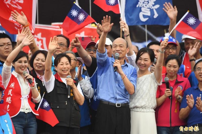 力挺高雄市長韓國瑜選總統的花蓮造勢大會今天(8日)登場,韓國瑜上台後正式宣布已登記參選國民黨提名總統初選。(記者游太郎攝)