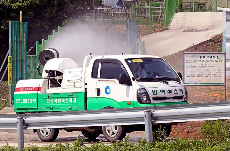 為預防非洲豬瘟,南韓衛生部門3日在仁川江華島上的一個養豬場進行消毒工作。(歐新社)