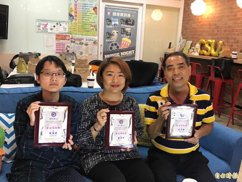 饒育寧(左起)、陳心儀、李盈達克服身體不適,用生命譜寫自己故事。(記者洪臣宏攝)
