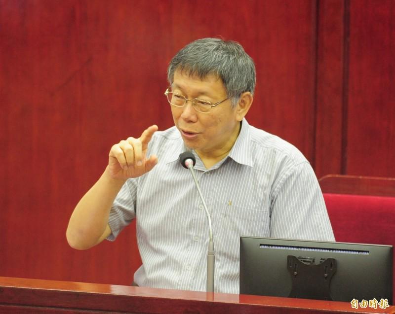 台北市政總質詢,台北市長柯文哲出席並備詢。(記者王藝菘攝)