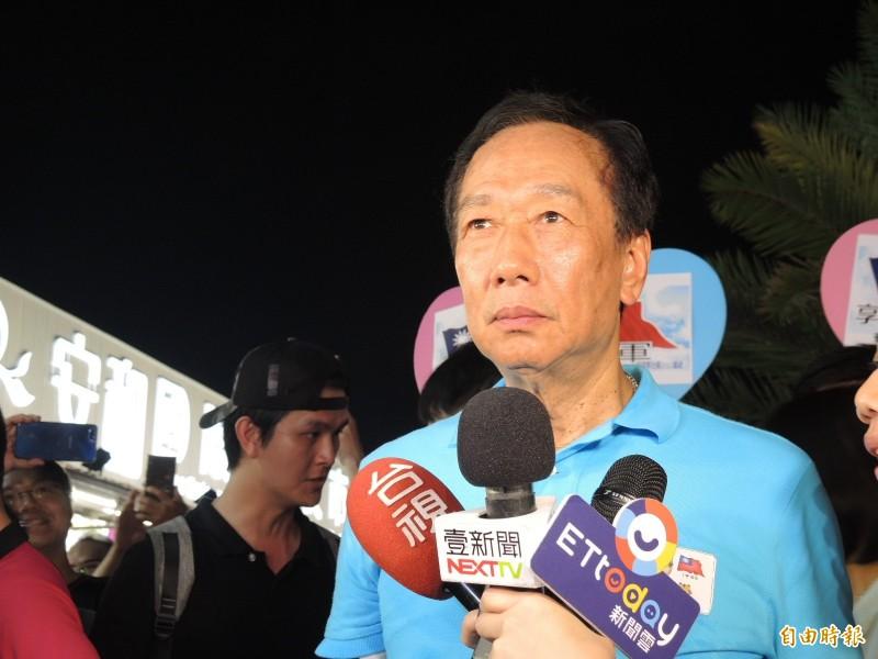 鴻海董事長郭台銘近來也加重攻擊韓國瑜的力道。(資料照)