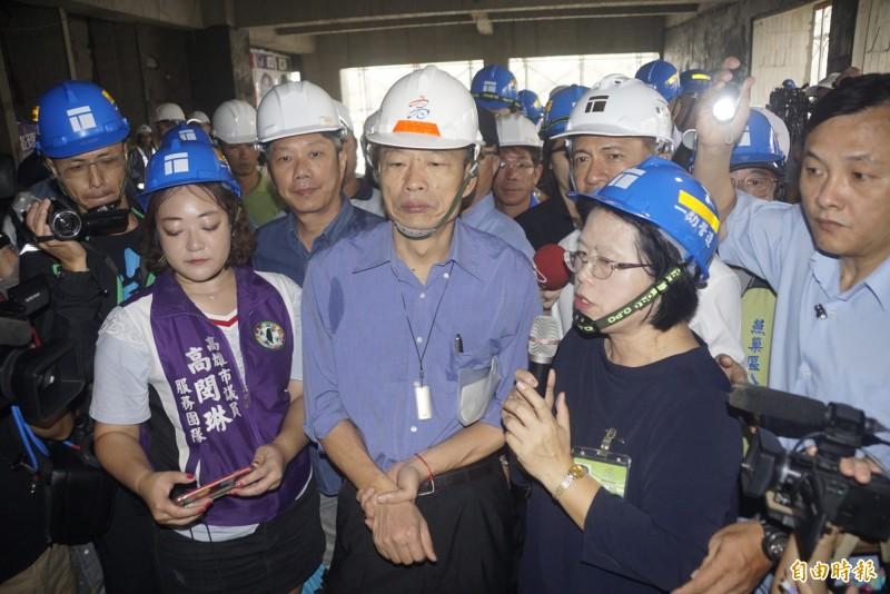前新北市長朱立倫PO文感嘆首長炒短級政績,高雄市長韓國瑜稱「那不是我的風格」。(記者黃佳琳攝)