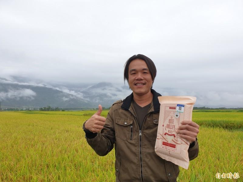 返鄉青農魏瑞庭自創「池上禾穀坊-米之谷」品牌,順利打進香港市場。(記者陳賢義攝)