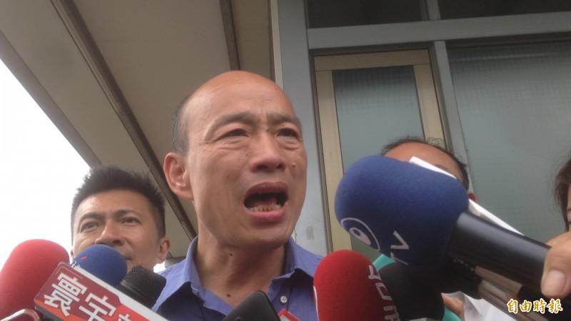 高雄市長韓國瑜傍晚對反送中運動再發聲明,呼籲香港政府,在無法達到香港社會多數共識之前,應該暫緩立法程序,先加強溝通與對話。(記者黃旭磊攝)