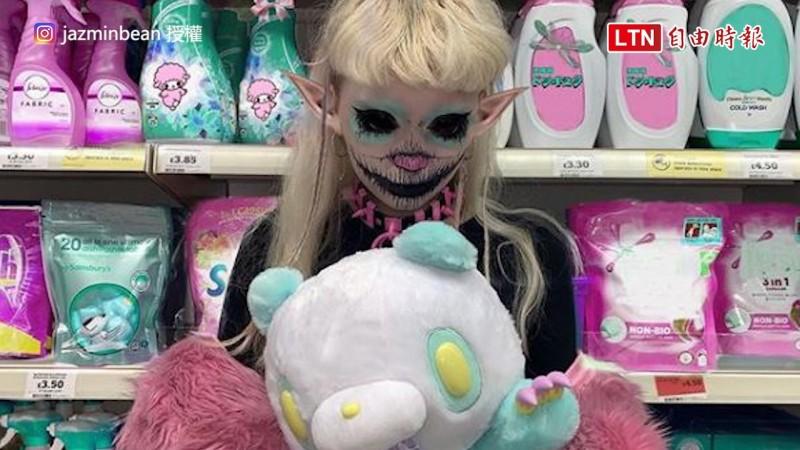 英國一名女孩特別喜歡將自己裝扮成惡魔。(圖片由Instagram帳號jazminbean授權提供使用。)