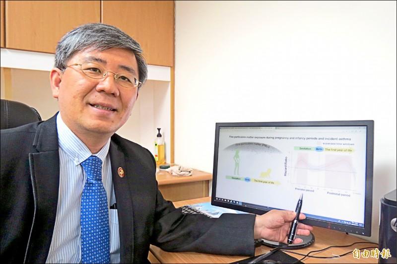 中國醫大教授黃彬芳團隊研究發現PM2.5引起氣喘發生的關鍵期。(記者蘇孟娟攝)