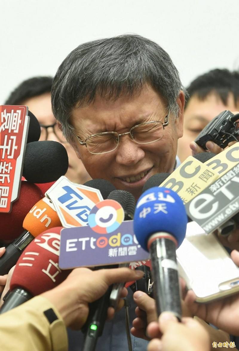 台北市長柯文哲說,香港鬧成這樣子,被他(指國台辦)讚賞反而實在是尷尬。(記者劉信德攝)