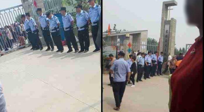 中國對天主教朝聖活動實施嚴格安檢與人員計數,還強迫信徒在膜拜前須升國旗、唱國歌。(擷取自《寒冬》雜誌)