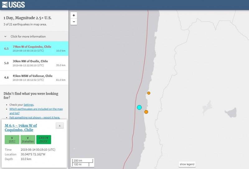 智利西方近海發生芮氏規模6.5強震。(擷取自USGS)