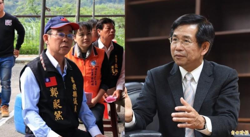 教育部長潘文忠(右)怒告散布謠言者,網友發現鄭聚然(左)竟提出質疑。(資料照,本報合成)