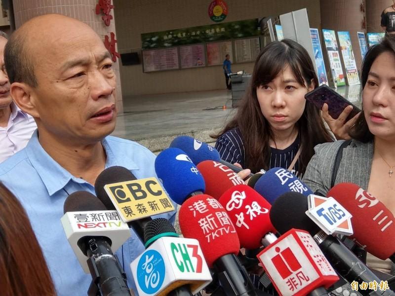 韓國瑜生氣了,今天近午透過新聞局發表聲明,強調對於黃光芹所有與他相關言論,將保留法律追訴權,持續搜證,準備提告。(資料照)