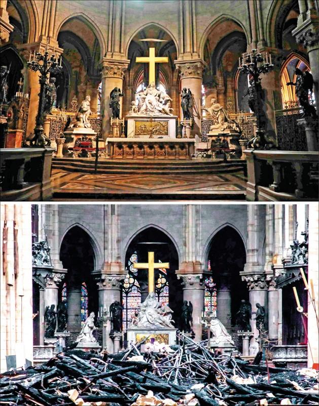 巴黎聖母院內部慘遭祝融前後的對照,支撐屋頂的樑柱坍塌,滿是瓦礫殘骸和結構體。(法新社)