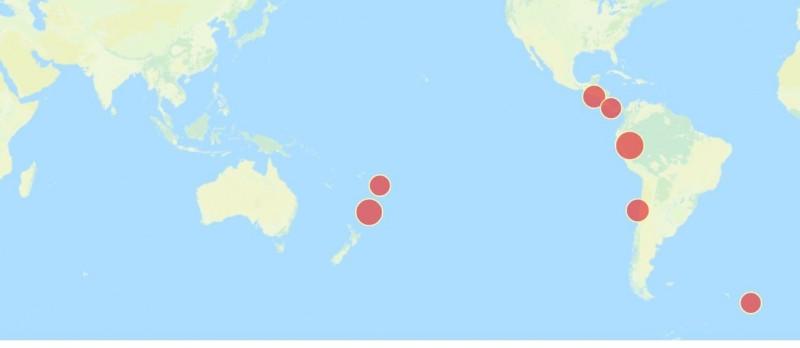 今早6點多,全球2起規模6以上地震,紐西蘭達到7.4、東加王國6.1。(圖擷取自中央氣象局地震測報中心)