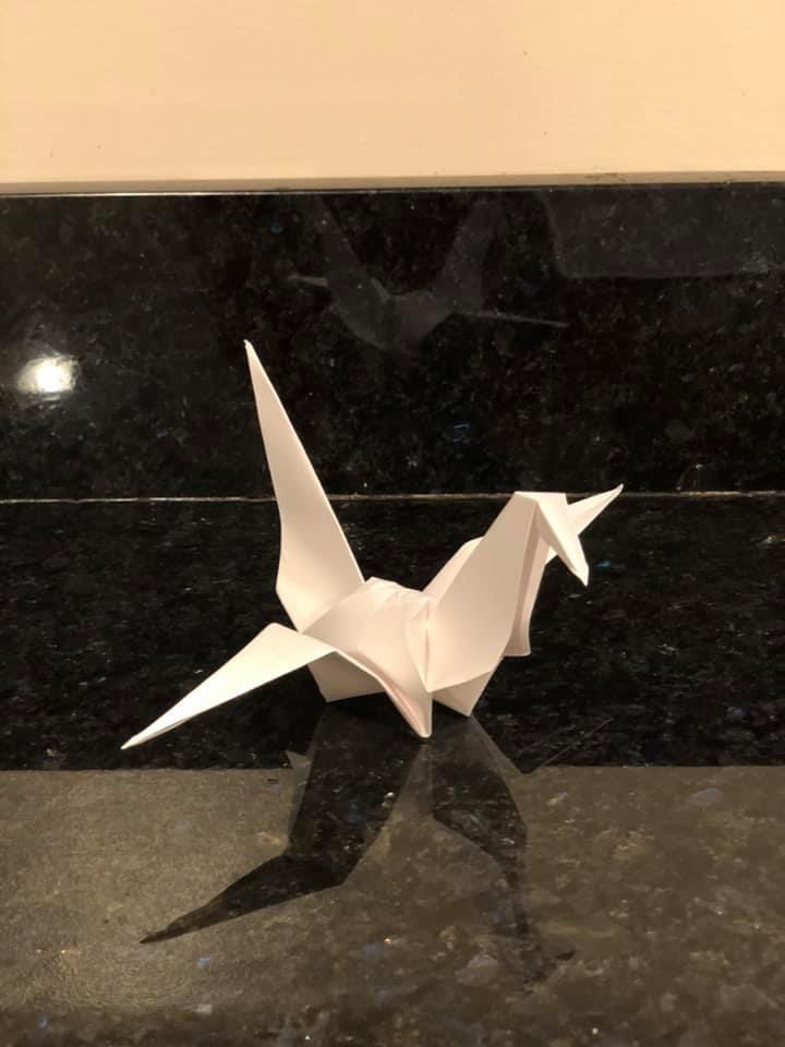 王丹勉強完成這隻紙鶴,表達對這位烈士及香港的自由獻出自己生命的人的心意。(翻攝王丹臉書)