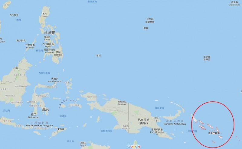 學者及專家分析,索羅門群島的位置在印太地區擁有重要戰略價值。(圖擷自Google Map)