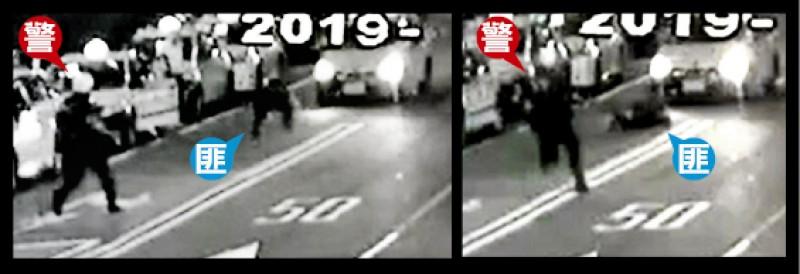 邱嫌邊逃跑邊開槍,見到計程車開來嚇得跌倒。 (記者王冠仁翻攝)