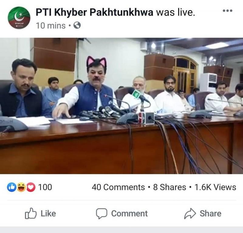 巴基斯坦一地方政府日前在臉書進行記者會直播,疑似忘了關貓貓濾鏡,讓官員瞬間化身為超萌喵星人。(圖擷自twitter)