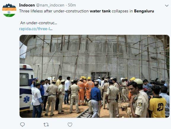 印度班加羅爾今天發生一起工安事故,造成3人死亡,20多人輕重傷。(圖擷取自推特@nam_indocen)