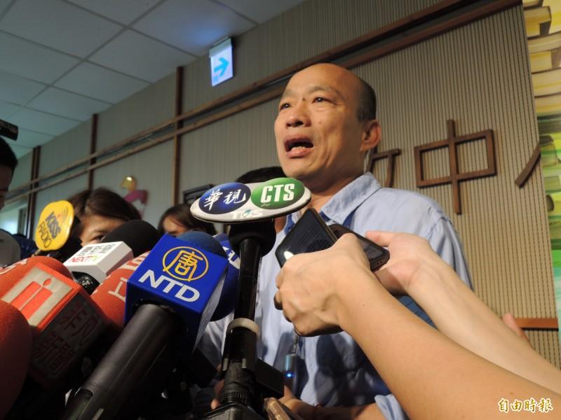 被蘇說賴皮,韓國瑜反嗆政院攝影機對著他,不是一樣賴皮嗎?(記者王榮祥攝)