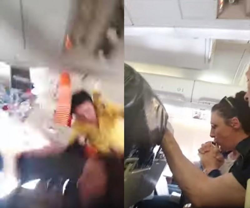 影片中可見,一名推著車的空服員慘遭拋飛撞上機頂,推車上的飲品則全噴灑出來,飛機上不少乘客則驚恐的大聲尖叫,也有人低頭不斷低聲祈禱。(擷取自YouTube)