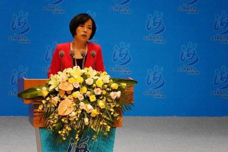 黃智賢16日在海峽論壇上表示,「一國兩制」是中國對台灣最大尊重與體貼,並稱她們這代要把台灣「帶回家、帶回中國」。(中央社)