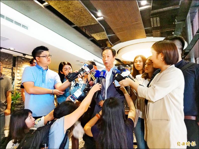 鴻海集團董事長郭台銘受訪時提到,和前立法院長溝通管道順暢。(記者謝武雄攝)