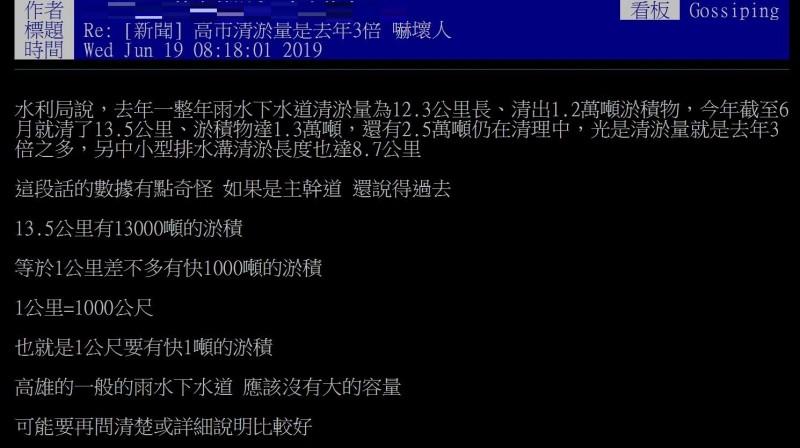 網友質疑高雄市清淤的數字「有點奇怪」。(擷取自PTT)