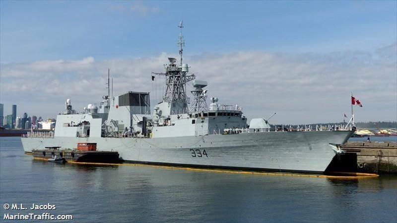 加拿大海軍「里賈納」號巡防艦。(翻攝自marinetraffic網站)