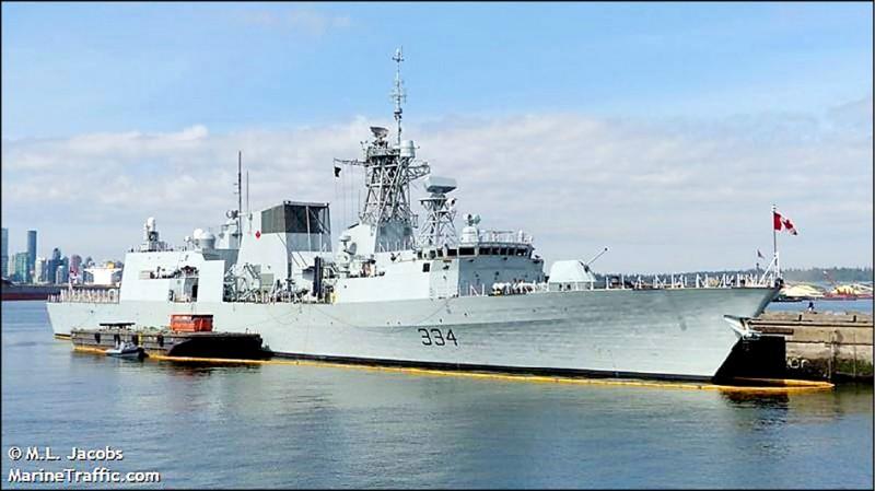 加拿大軍艦「里賈納號」六月十七日至十八日穿越台灣海峽。(資料照,翻攝自marinetraffic網站)