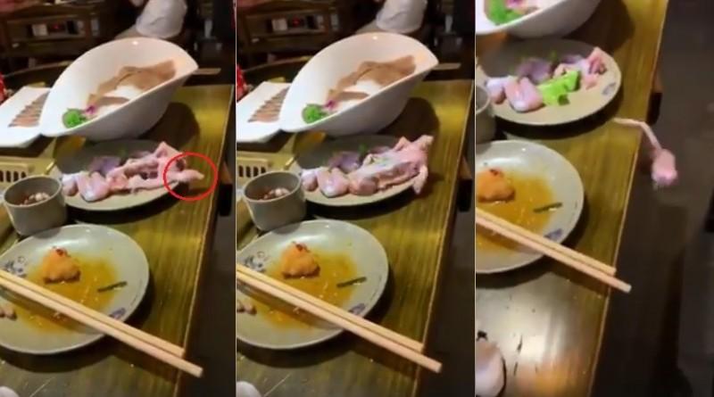 只見影片中客人在享用火鍋時,一塊生蛙肉突然伸出手一般的肉塊,奮力「爬」出餐盤,接著再摔下餐桌。(擷取自爆笑公社)